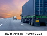 truck on road container ... | Shutterstock . vector #789598225
