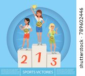 three female athletes with... | Shutterstock .eps vector #789602446