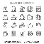 coffee and tea  bold line icons.... | Shutterstock .eps vector #789603835