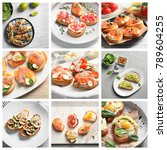 collage with ideas for serving... | Shutterstock . vector #789604255