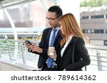 businessman and businesswoman... | Shutterstock . vector #789614362