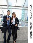 businessman and businesswoman... | Shutterstock . vector #789614365