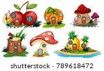 mushroom and fruit houses... | Shutterstock .eps vector #789618472