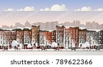 vector art frozen city scene.... | Shutterstock .eps vector #789622366