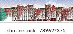 vector art frozen city scene.... | Shutterstock .eps vector #789622375