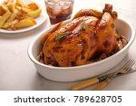 roasted chicken with garlic in... | Shutterstock . vector #789628705