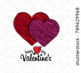happy valentine's day card... | Shutterstock .eps vector #789629968