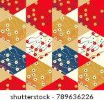asian style hexagonal floral... | Shutterstock .eps vector #789636226