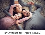 top view of happy young family... | Shutterstock . vector #789642682