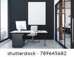 modern office interior with... | Shutterstock . vector #789645682