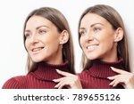 perfect smile before and after... | Shutterstock . vector #789655126