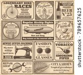 vintage newspaper banners and... | Shutterstock .eps vector #789657625