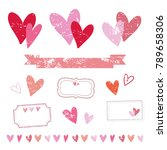 set of various heart stamps for ... | Shutterstock .eps vector #789658306