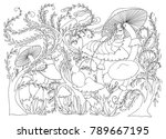 caterpillar smokes a hookah on...   Shutterstock .eps vector #789667195