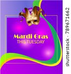 mardi gras banner with a mask   Shutterstock .eps vector #789671662