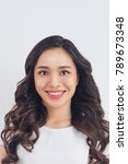 Stock photo passport picture of an asian young woman 789673348
