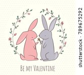 romantic card with two cute... | Shutterstock .eps vector #789675292