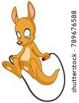 happy kangaroo playing with... | Shutterstock .eps vector #789676588