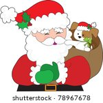 santa claus has a puppy in his... | Shutterstock .eps vector #78967678