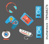 computer accessories on gray... | Shutterstock .eps vector #789688276