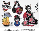 set of flash style japanese cat ... | Shutterstock .eps vector #789692866