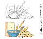 sketch porridge corn flakes and ... | Shutterstock .eps vector #789695182