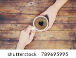 cups with a coffee in the hands ... | Shutterstock . vector #789695995