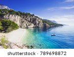 Beautiful Nugal beach near Makarska town, Dalmatia, Croatia. Makarska riviera, famous landmark and travel touristic destination in Europe - stock photo