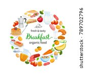 breakfast poster food design... | Shutterstock .eps vector #789702796
