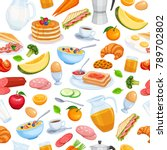 breakfast seamless pattern food ... | Shutterstock .eps vector #789702802
