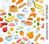 breakfast seamless pattern food ... | Shutterstock .eps vector #789702802