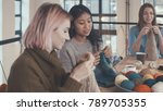 attractive friends at a lesson... | Shutterstock . vector #789705355
