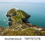 Small photo of South Stack Lighthouse near Holyhead on the Island of Anglesey in North Wales. Accessed only by going down hundreds of steps on the cliff face - and then unfortunately having to stagger back up again