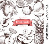vector frame with fruits and... | Shutterstock .eps vector #789707716