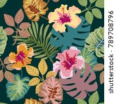 tropical plants on dark green... | Shutterstock .eps vector #789708796