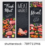 gastronomic meat products with... | Shutterstock .eps vector #789711946