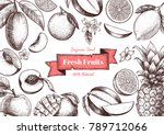 vector frame with fruits and... | Shutterstock .eps vector #789712066
