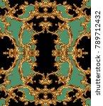golden baroque and chain  | Shutterstock . vector #789712432