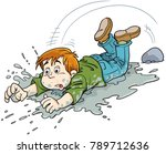 child falls in a puddle | Shutterstock .eps vector #789712636