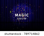 theater stage with blue curtain ... | Shutterstock .eps vector #789714862