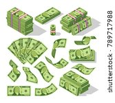 Cartoon Money Bills. Green...