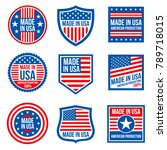 vintage made in the usa vector... | Shutterstock .eps vector #789718015