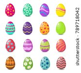 cartoon colorful easter eggs... | Shutterstock .eps vector #789718042
