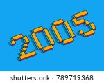 Happy new year 2005 isometric text design - vector illustration