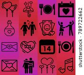 valentine's day vector icon set ... | Shutterstock .eps vector #789722662