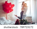 beautiful young couple at home. ... | Shutterstock . vector #789723172