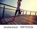 sporty fitness female runner... | Shutterstock . vector #789725236