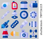 icon set about car engine with... | Shutterstock .eps vector #789726115