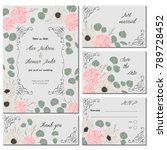 save the date card with pink... | Shutterstock .eps vector #789728452