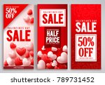 valentines day sale vector... | Shutterstock .eps vector #789731452